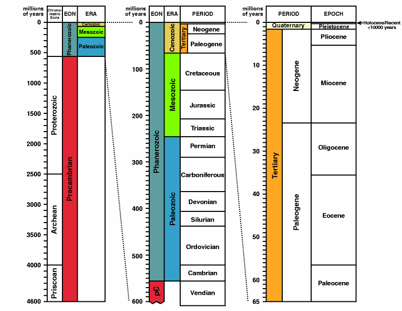 time scale chart. Source: Geological Time Scale