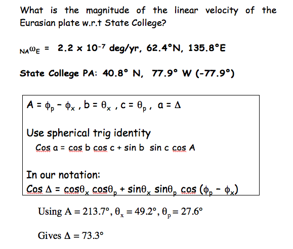 Equation: What is the magnitute of the linear velocity of the Eurasian plate w.e.t. State College? See text description in link below